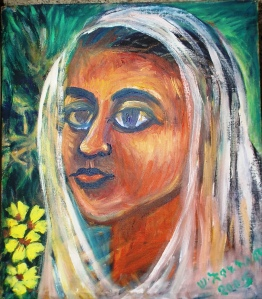 Women are always at the center of Enanu's paintings